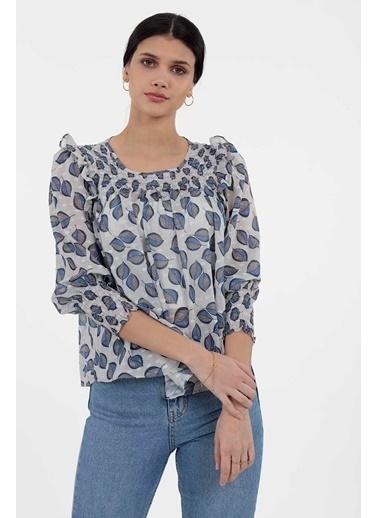 Vitrin Smok Dikiş Detaylı Desenli Bluz İndigo